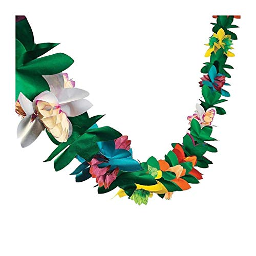 MUZIWENJU Blumenring Tag Party Dekoration 3M Farbe Gewebe Girlande Geburtstagspapier Girlande Jungle Tropical Party (Farbe : Colorful)