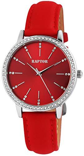 Raptor Damen-Uhr Echt Leder Armband Strass Glitzer Elegant Analog Quarz RA10176 (rot)
