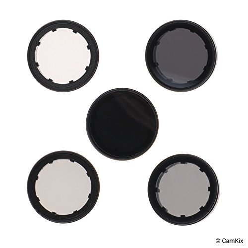CamKix Filter-Pack kompatibel mit GoPro Hero 4 und 3+ - Enthält 4 ND-Filter (ND2, ND4, ND8, ND16), einen UV-Filter und EIN Reinigungstuch - Perfekt für Luftaufnahmen mit Drohnen