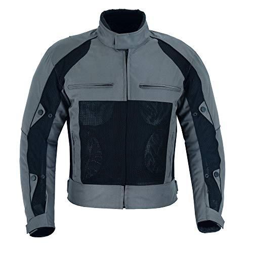Warrior Gears Chaquetas de moto Air Mesh para hombre   Chaquetas de moto para hombre con forro extraíble y armaduras CE, chaquetas impermeables para hombre - gris y negro