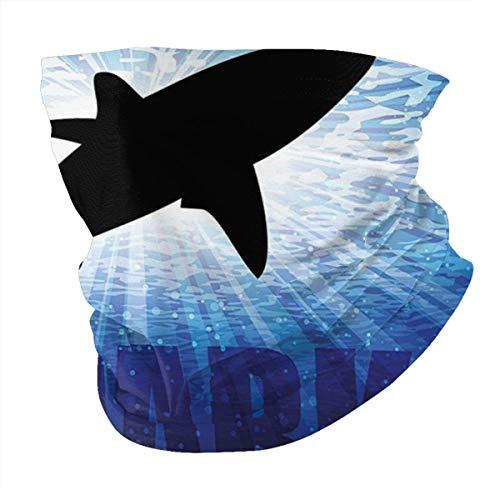 Q&SZ Sweatshirt Outdoor Headband Shark Underwater Hunter Phrase Fish Silhouette In The Ocean Danger In Marine Picture Royal Blue Black Scarf Neck Gaiter Face Bandana Scarf Head Scarf