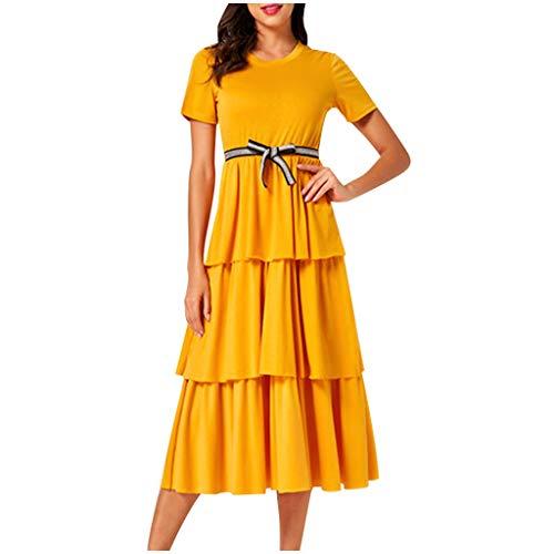 Why Choose Litetao M Yellow 235258 (Women Summer Tunic Dress Solid Short Sleeve Boat Neck V Neck Cas...