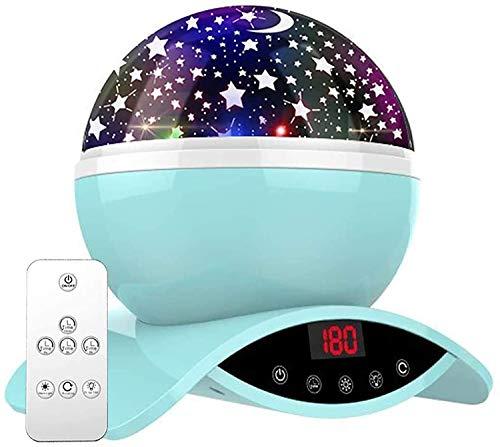 Amouhom Sternenhimmel Projektor Lampe mit Fernbedienung, LED Nachtlicht mit Wiederaufladbare Batterie 360 Drehen und Timing Schlaflicht für Kinders Schlafzimmer für Frauen(Blau)