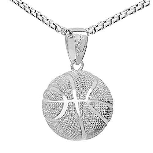 QEPOL Moda hip hop baloncesto colgante collar , joyería cadena de acero inoxidable Hip Hop deportes collar Fitness joyería baloncesto fan colgante collar (Silber)