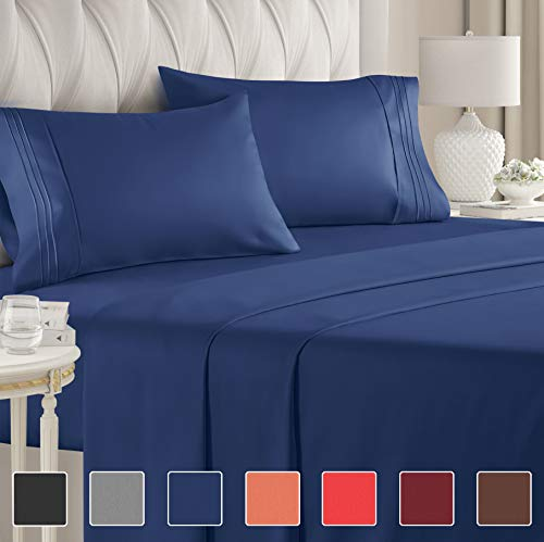 Full Size Sheet Set  4 Piece  Hotel Luxury Bed Sheets  Extra Soft  Deep Pockets  Easy Fit  Breathable amp Cooling  Wrinkle Free  Comfy – Navy Blue Bed Sheets – Fulls Royal Sheets – 4 PC