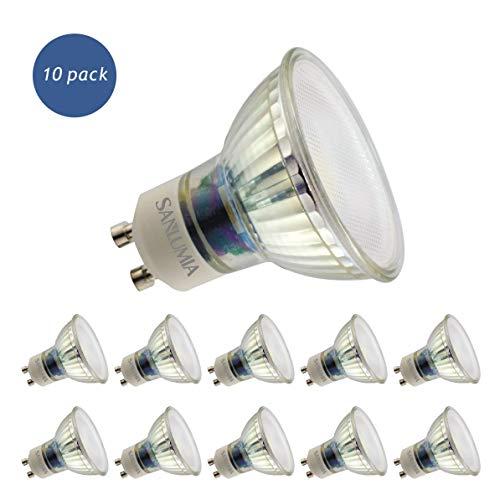 Sanlumia | LED Lampe | GU10 10er Set | LED Birne 9 Watt | Glühbirne 845 Lumen | Leuchtmittel ersetzt Halogen 100W | Cool Weiß 6400K | Abstrahlwinkel 110° | Nicht Dimmbar | LED-Licht Reflektor