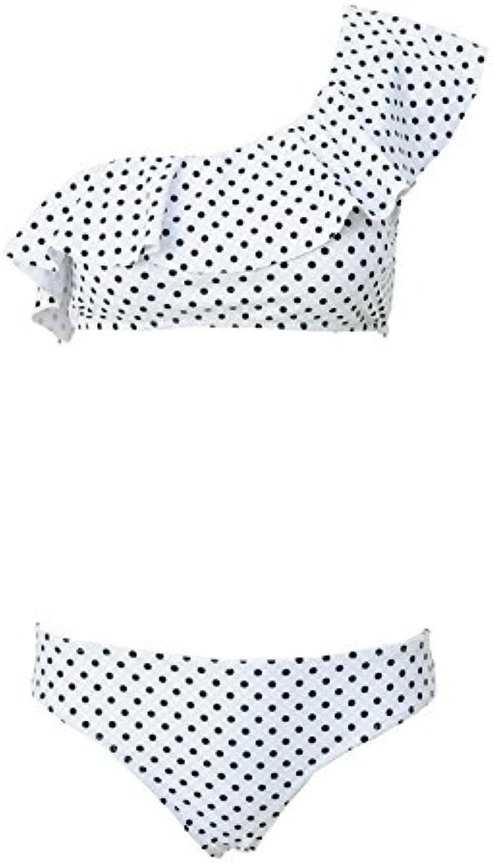 HITSAN Ariel Sarah 2018 Dot Bikini Set Bathing Suit Cute Swimwear Women Swimsuit One Shoulder Brazilian Bikini Maillot De Bain color WH Size S
