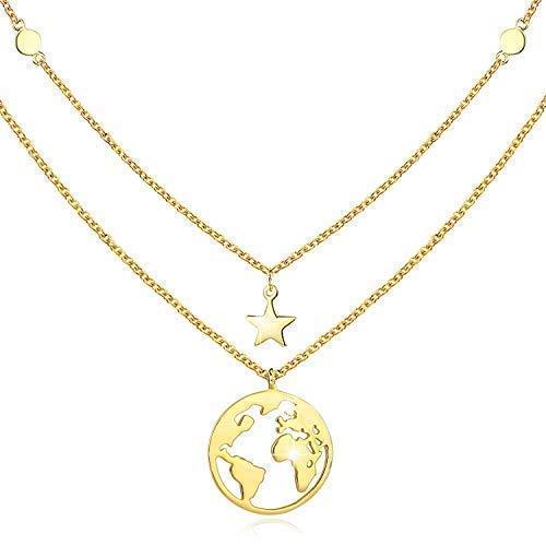 Collar de oro con colgante de tierra para mujeres regalo para niñas plata de ley 925...