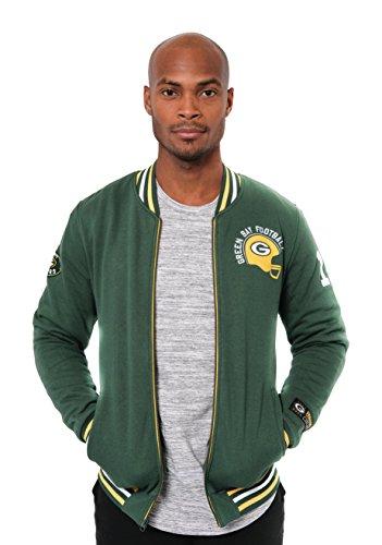 Icer Brands NFL bestickte Fleece-Jacke mit Reißverschluss, für Herren, Green Bay Packers L/S Zip FRNT Jacket, grün