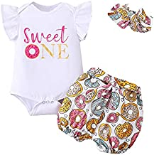 Birthday Shark Baby Girl Sweet One Outfit Toddler First Birthday Short Set with Headband (White,12-18 Months)