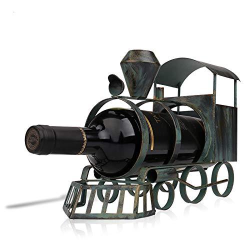 KUKU Estante De Vino De Escritorio, Estante De Vino Creativo, Forma De Tren, Estante De Exhibición De Escritorio, Decoración Artística, Metal, Usado para Almacenar Vino