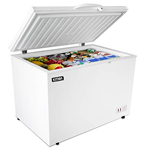 Commercial Top Chest Freezer - Kitma 15.9 Cu. Ft Deep Ice Cream Freezer with 2 Storage Baskets, Adjustable Thermostat, Lock,Rollers, White
