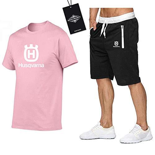 MAUXIAO Hombres Y Mujer Camiseta Bermudas Chandal Conjunto por Husqvarna Dos Piezas Corto Manga Tee Pantalones Ropa Deportiva Y/Rosado/XXL