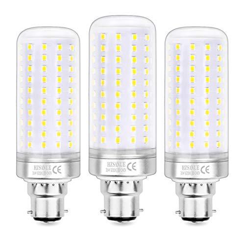 Hzsanue Lampadine LED 26W, 200W Lampadine a Incandescenza Equivalenti, 2600Lm, 6000K Luce Bianca Fredda, B22 Cappellino Baionetta, Confezione da 3