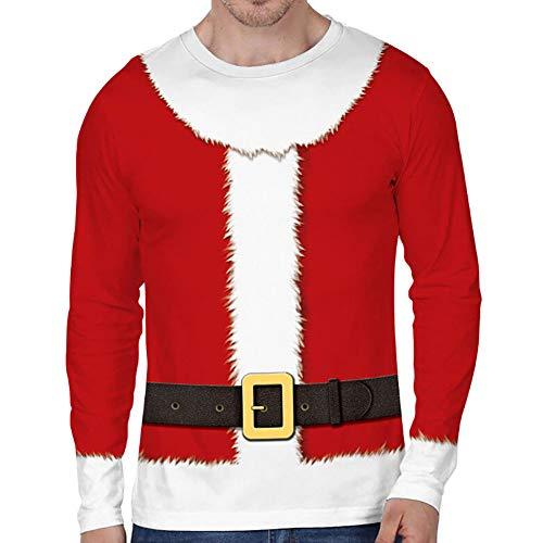 Loalirando Vêtement Noël Homme T-Shirt Drôle à Manches Longues PullMoche de Noël Motifs 3D Imprimés