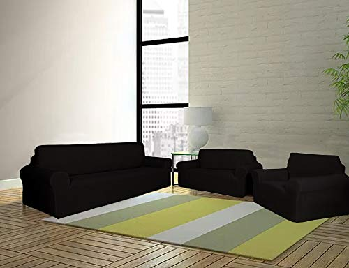 Sapphire Home 3-Piece SlipCover Set for Sofa Loveseat Couch Arm Chair, Form fit Stretch, Wrinkle Free, Furniture Protector Cover Set for 3/2/1 Cushion, Polyester Spandex, 3pc Slipcover, Black
