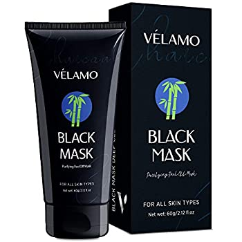 Velamo Blackhead Remover Mask Purifying Peel Off Black Mask Charcoal Black Mask Deep Cleansing Facial Mask for Face and Nose 60g