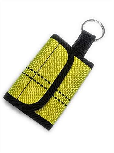 Schlüsseltasche Geldbörse Portemonnaie Mini Neon Gelb Feuerwehrschlauch