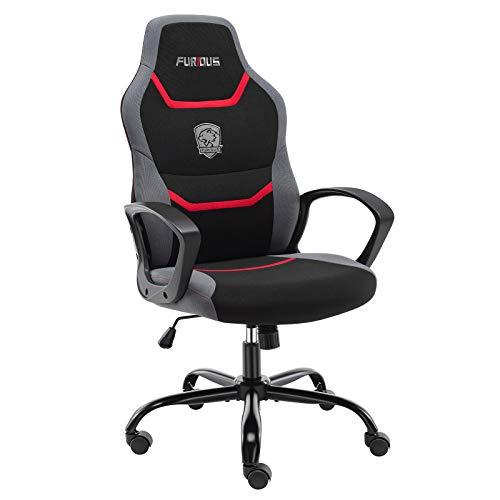 Gaming Stuhl Bürostuhl Ergonomischer Drehstuhl Schreibtischstuhl mit Eingebauter Lendenstütze und Drehbaren Lenkrollen Computerstuhl Rot