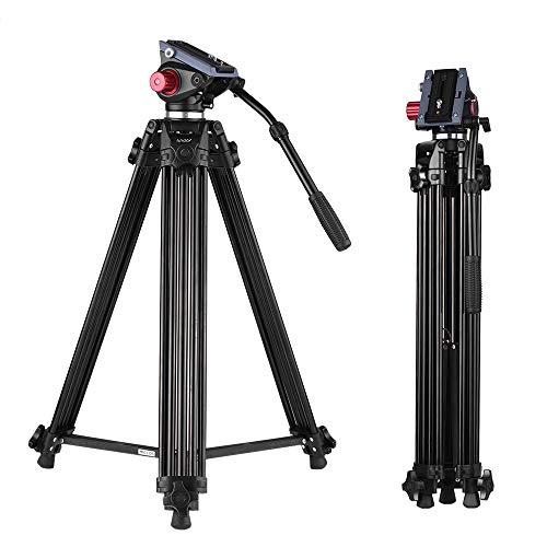 Andoer 170cm Caballete Fotográfico Trípodes Completos para Canon Nikon Cámara DSLR Sony, Cámara Video Trípode Carga Máxima 10kg Aleación de Aluminio, con Cabezal de Fluido 360°, Bolsa de Transporte