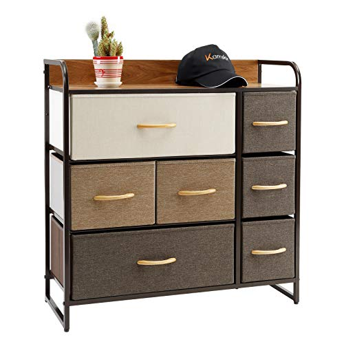 Kamiler 7-Drawers Dresser, 3-Tier Storage Organizer, Tower Unit for Bedroom/Hallway/Entryway/Closets - Sturdy Steel Frame, Wooden Top, Removable Fabric Bins (Cream)