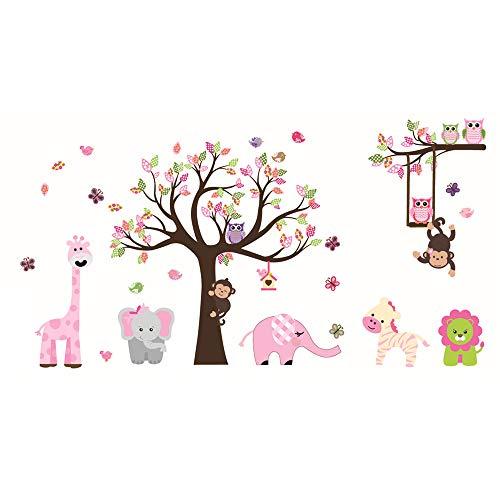 ufengke Adesivi Murali Animale Albero Adesivi Muro Elefante Giraffa per Camerette Bambini Asilo Nido Casa