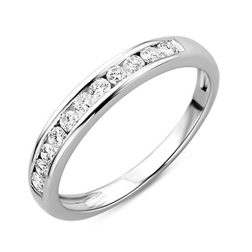 Orovi Damen-Ring Memoire HochzeitsringWeißgold 14 Karat (585) Brillianten 0.33 carat Verlobungsring Diamantring