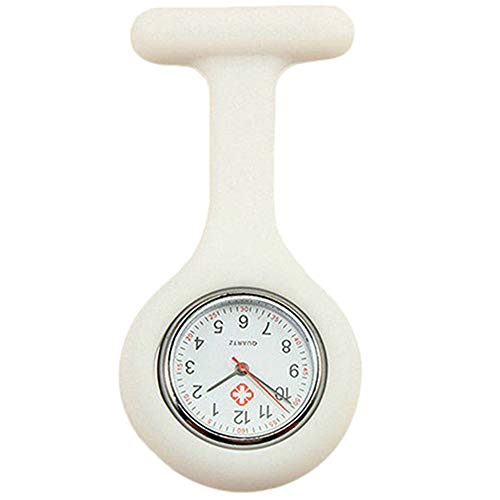 Gemini_mall - Spilla per orologio da infermiera, in silicone con perno, con clip, per infermieri, medici, paramedico, con spilla da taschino bianco