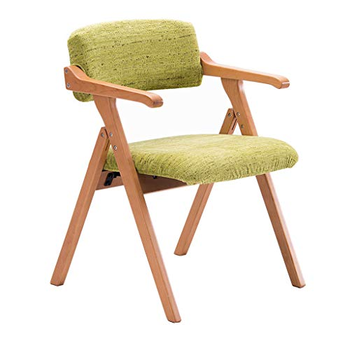 Chaise pliante en bois massif Chaise à manger Fauteuil Accueil Restaurant Bureau Balcon Chaise Réunion Loisirs Chaise/Algue verte/Charge maximale 200KG