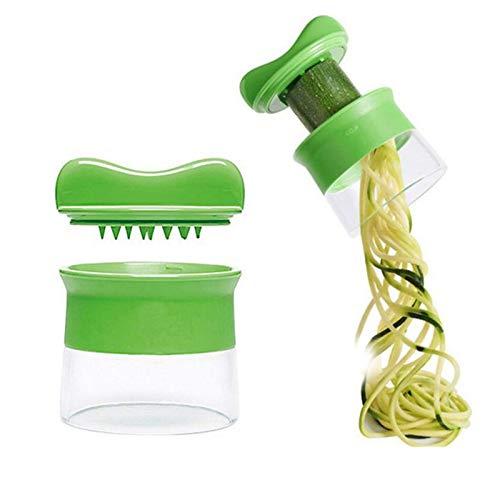 Cortador de Verdura, 3 en 1 Rallador de Verduras Calabacin Pasta Espiralizador Vegetal Veggetti Slicer Pepino, Espiralizador de Verduras Manual, Espaguetis de Calabacin, Cortador Espiral Manual