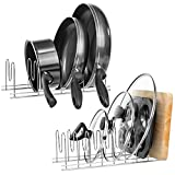 Homics Pan and Pot Lid Holders Kitchen Organizer Set, Stainless Steel Storage Drying Rack for Pot&Pan, Lids, Plates, Cutting Board, Bakeware and Serving Trays - Set of 2
