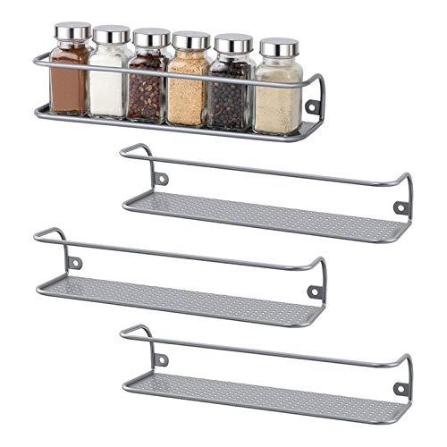 HAITRAL Gewürzregal aus Metall für Schranktür, Schrankeinsatz, Badregal Organizer - 4er Set - Silber