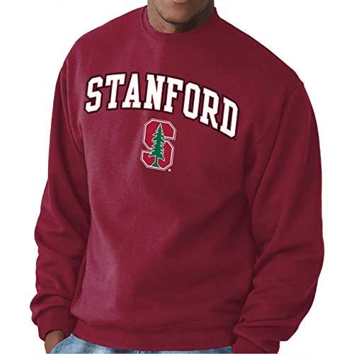 Campus Colors NCAA Adult Arch & Logo Gameday Crewneck Sweatshirt (Stanford Cardinal - Cardinal, Large)