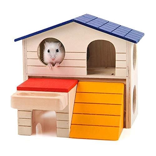 FZQ Juguete para Mascotas Villa de Madera Pequeño Animal Color de Nido Casa de Madera Nido de Madera Casa de Doble Vivienda Nido con Mascota pequeña y Creativa Oso de Oro Hámster