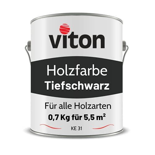VITON Holzfarbe in Schwarz - 0,7 Kg Holzlack Seidenmatt - Wetterschutzfarbe für Innen und Außen - 2in1 Grundierung & Deckfarbe - Profi-Holzschutzlack - KE31 - RAL 9005 Tiefschwarz