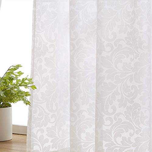"White Sheer Curtains for Windows 63"" Burnout Vintage Floral Leaf Pattern Window Sheer Drapes for Living Room Rod Pocket 54"" 1Pair"