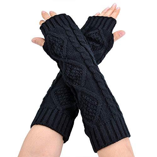 Huixin Damen Cashmere Schutz Gestrickt Halbhand Jungen Armlange Armstulpen Handschuhe Lang Halb Fäustlinge Handschuh Fingerlos (Color : Schwarz, Size : One Size)