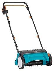 Gardena elektrisk gräsmattefläkt ES 500: vertikaliserande anordning med arbetsbredd 30 cm, gräsmattans yta upp till 600 m2, kapacitet 500 W, justeringsspak för arbetsdjup, delbart länkage, hjul med särskild profil (4066-20)