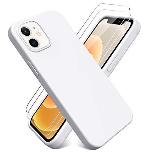 Oududianzi - Funda para iPhone 12 Mini(5.4'') + [2 Pack] Protector Pantalla, Carcasa de Silicona Líquida Gel Ultra Suave Funda con tapete de Microfibra Anti-Rasguño - Blanco