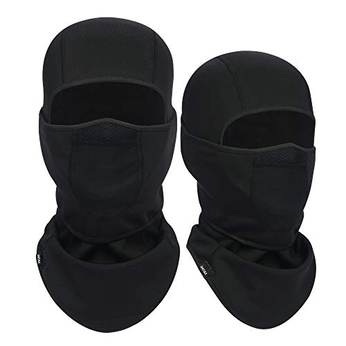 SAITAG Pasamontañas Máscara de esquí caliente para clima frío invierno esquí snowboard moto pesca hielo hombres (negro y negro, 2)