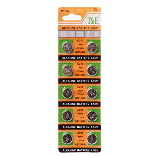 Weishazi Knopfzelle AG10 1,5 V Uhrenbatterien SR54 389 189 LR1130 SR1130 Spielzeug-Fernbedienung