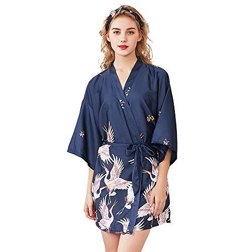 Kimono de Seda Vestido de Satén Kimono Pavo Real Novia