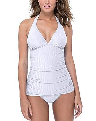 Profile by Gottex Women's Halter V-Neck Tankini Top Swimsuit, Ribbons White, 8