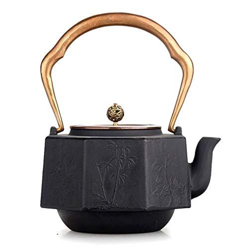 Slow Time Shop Tetera de Hierro Fundido de Ocho Lados, Tetera Japonesa de tetsubina de Hierro Viejo, con Tapa de Cobre, Tetera de té no tóxica - Vintage Tea Pot Handiwork Black 1.2L / 40oz