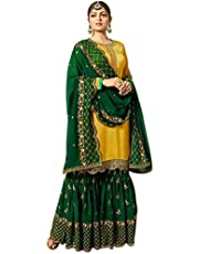 Yashika Fashion Women's Satin Georgette Embroidered Sharara Suit (YF-102, Yellow and Green)