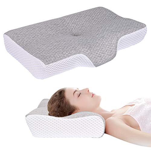 Memory Foam Pillow for Sleeping Contour Cervical Support Pillows for Neck Pain Relief Ergonomic Bed Pillow with Washable Cover for Side & Back & Stomach Sleepers