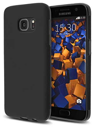 mumbi Hülle kompatibel mit Samsung Galaxy S7 Handy Case Handyhülle Double Grip, schwarz
