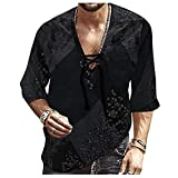 Tops for Men Colorful Tie-in Jacket Long Sleeve Fashion V Neck T-Shirt Summer Autumn Casual Loose Blouse Tee (04 Black, XXL)