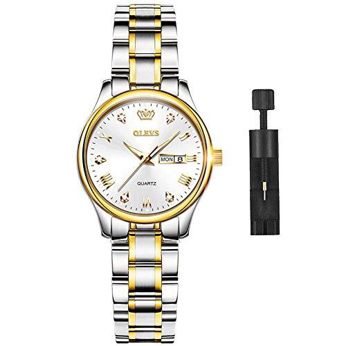 Reloj elegante de regalo para mujer: OLEVS relojes para mujer, estilo informal, analógico, de acero inoxidable, esfera pequeña con esfera dorada y negra y blanca.