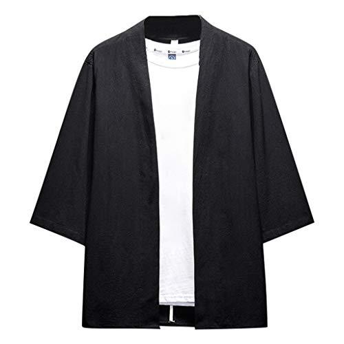 Cardigan da Uomo, Uomo Cappotto Kimono in Lino Giapponese Mens Vintage Cloak Cotton Linen Blends Loose Fit Short Coat Jacket Cardigan per la Spiaggia di Viaggio